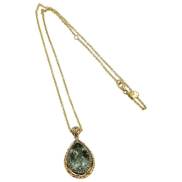 18 Karat Yellow Gold Garavelli Necklace with Praseolite and Brown Diamonds