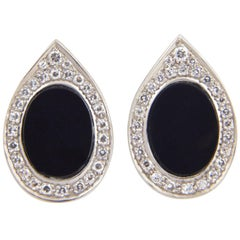 Onyx and Diamond Platinum Teardrop Earrings, circa 1970s
