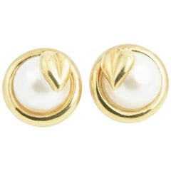 Gold Leaf and Mabe Blister Pearl Button Earrings