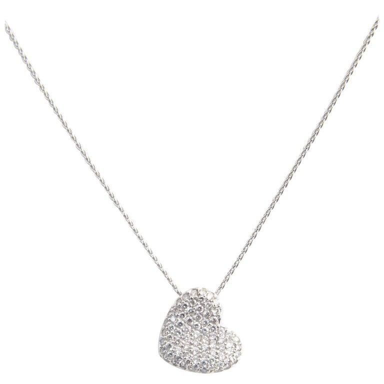 Pavé Diamond White Gold Heart Necklace