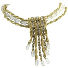 Scaasi Red Carpet Gold, Rhinestone and Lucite Necklace