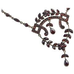 Victorian Bohemian Garnet Drop Necklace
