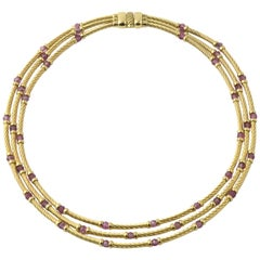 David Yurman Amethyst Gold Cable Necklace