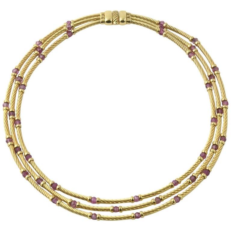 David Yurman Amethyst Gold Cable Necklace