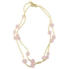 David Yurman Rose Quartz and Gold Long Necklace