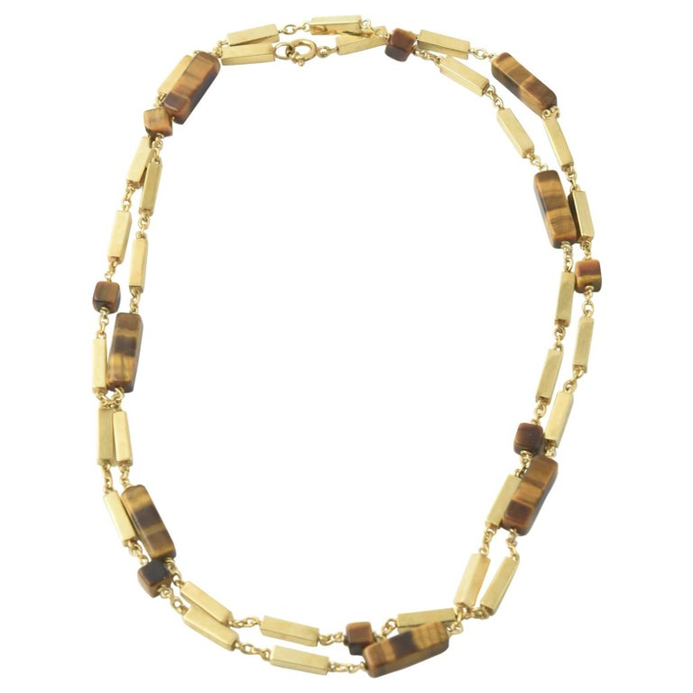 1970s Tiger's Eye Gold Bar Necklace