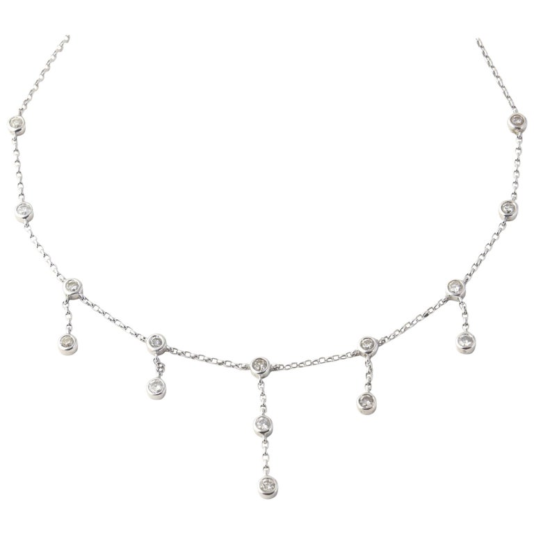 Dangling Diamond White Gold Necklace