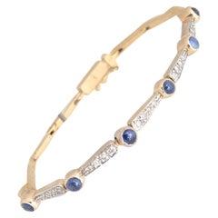 Antique Diamond and Sapphire Line Bracelet