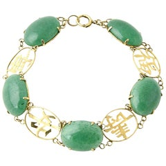 Chinese Gold Characters Aventurine Quartz Gold Bracelet