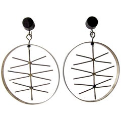 Milton Cavagnaro Sterling Silver Ebony Kinetic California Modernist Earrings