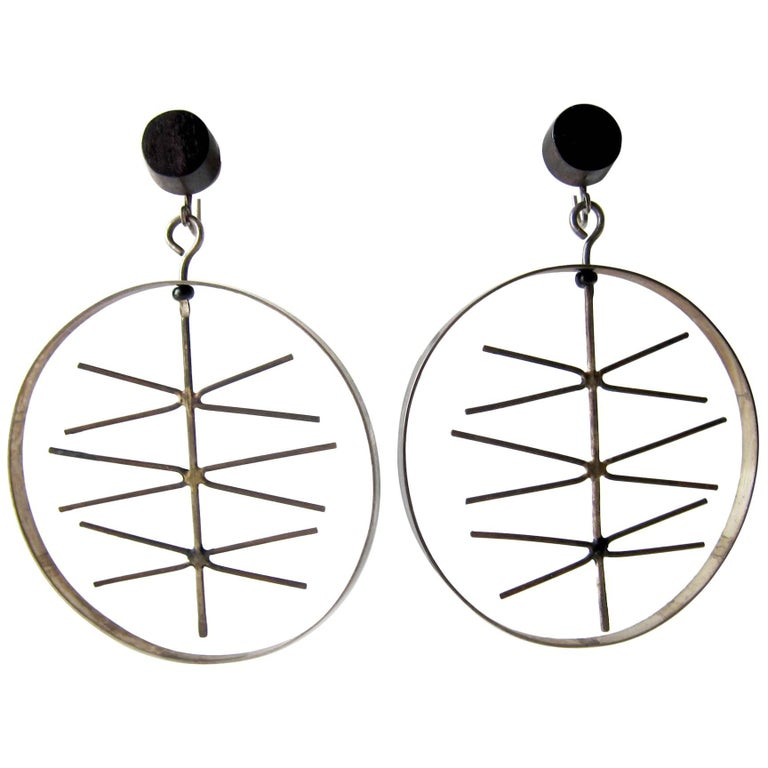 Milton Cavagnaro Sterling Silver Ebony Kinetic California Modernist Earrings For Sale
