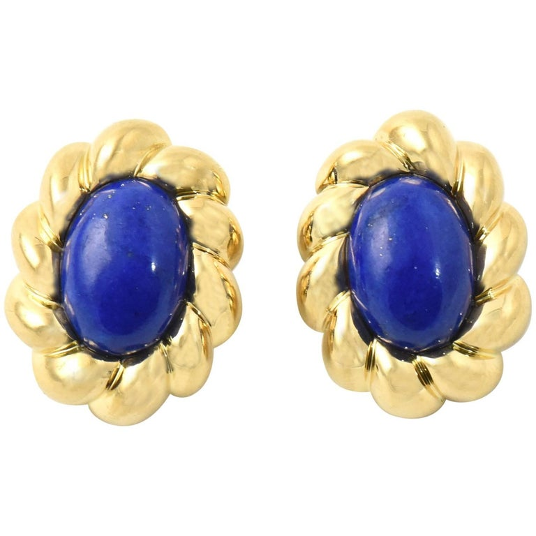 Lapis Lazuli Sculpted Gold Clip Earrings