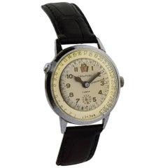 Crawford Stainless Steel Chrome Calendar Manual Watch, circa 1950s