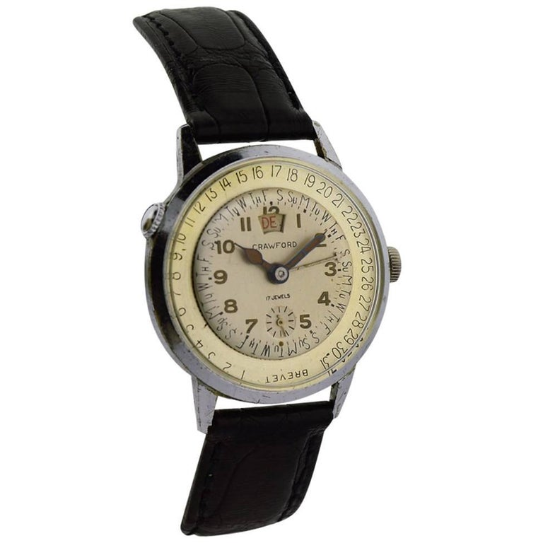 Crawford Stainless Steel Chrome Calendar Manual Watch, circa 1950s