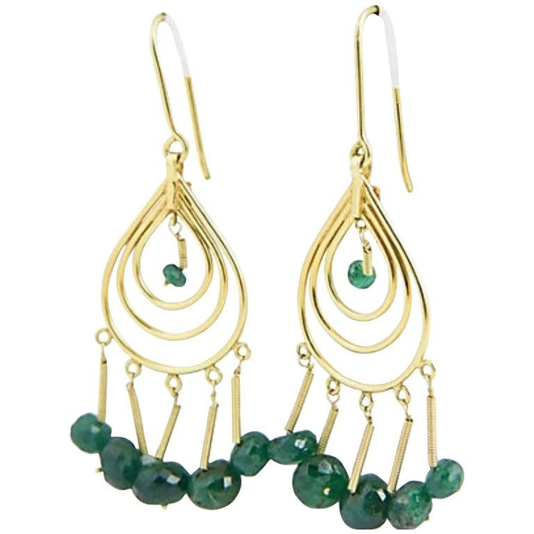 Dangling Emerald Gold Teardrop Earrings
