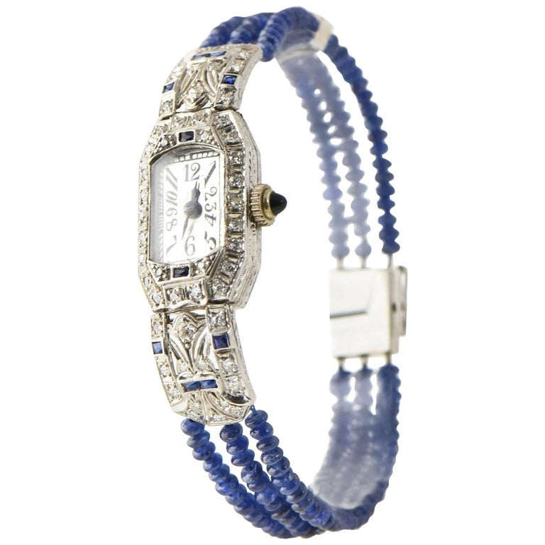 Ladies Platinum Diamond Sapphire Filigree Art Deco Dress Wrist Watch For Sale