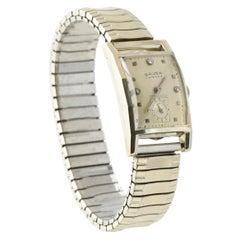 Gruen Curvex White Gold Watch with Steel Speidel Band