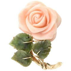 Coral Rose Flower Gold Brooch with Jade Leaves