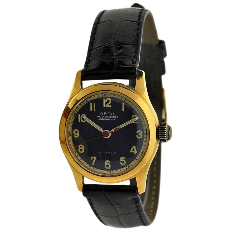 Arta Yellow Gold Original Dial Manual Wind Watch, 1950s For Sale
