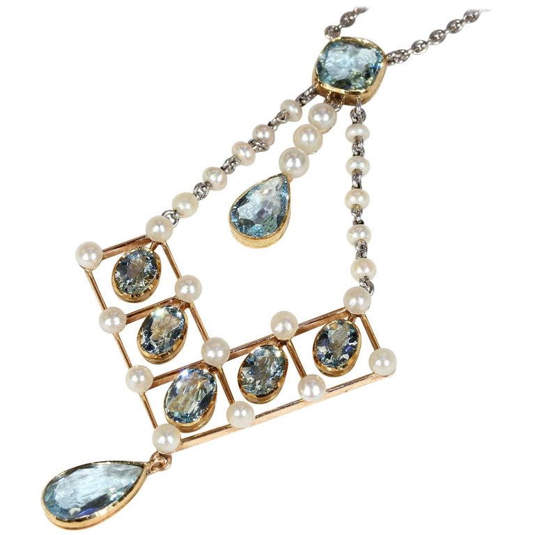 Edwardian Asprey Aquamarine Pearl Necklace Original Box