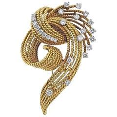 18 Karat Gold Retro French 1.16 Carat VS Diamond Brooch Pin Necklace Pendant