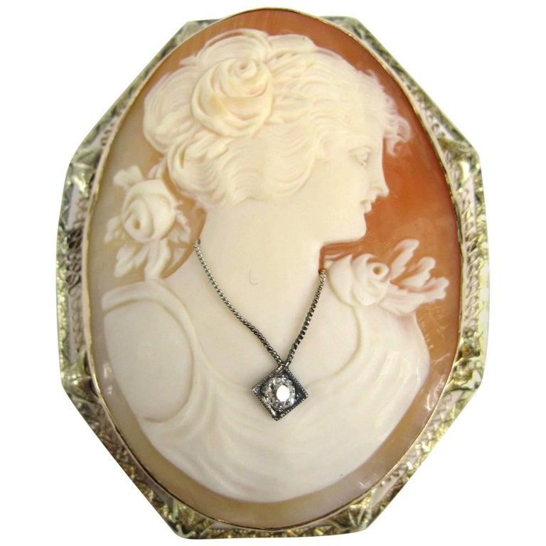 Victorian 14 Karat Yellow Gold Cameo Diamond Brooch Pendant
