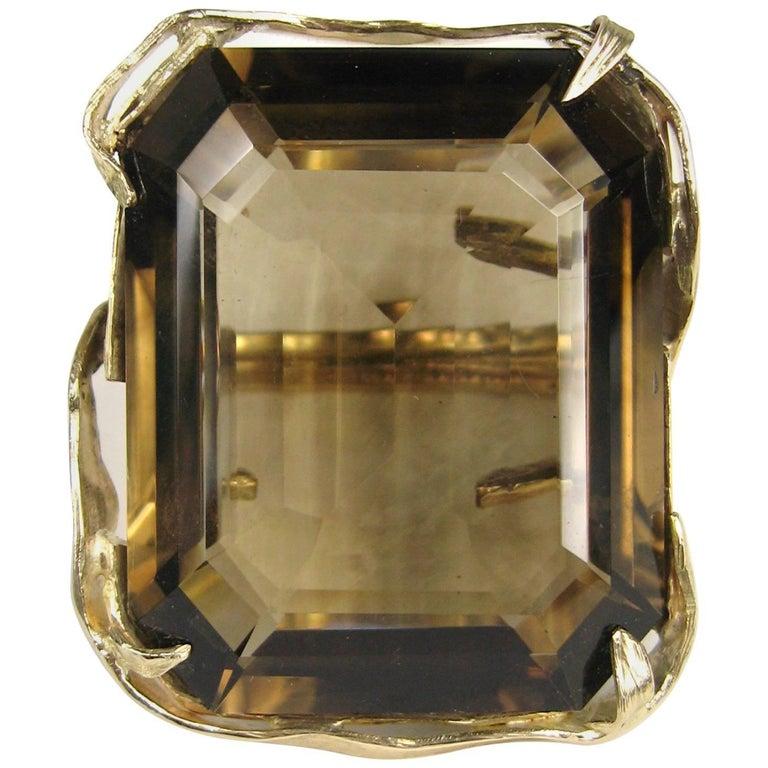 Massive 95+ Carat Smokey Topaz 14K Gold Cocktail Ring Custom Made