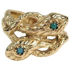 14 Karat Gold Double Headed Turquoise Snake Wedding Band Ring