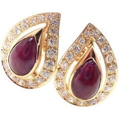 Vintage Cartier Paris Diamond Cabochon Ruby Yellow Gold Earrings