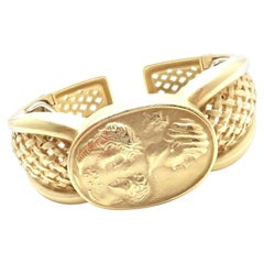 Barry Kieselstein Cord Cameo Yellow Gold Cuff Bangle Bracelet