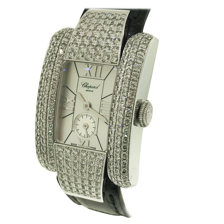 Chopard La Strada White Gold Diamond Leather Band Ladies Watch 41/6847 Brand New