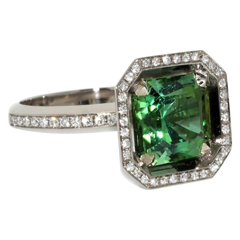 Lizunova Green Tourmaline and Diamond 18 Karat White Gold Ring