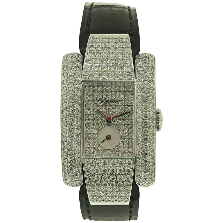 Chopard La Strada Gold and Pave Diamond Black Leather Band Ladies Watch New