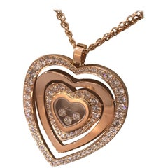 Chopard Happy Diamonds 18 Karat Rose Gold Heart Pendant Necklace 79/7221-5002