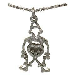 Chopard Happy Diamonds White Gold Clown Pendant Necklace 79/7225-1003 Brand New