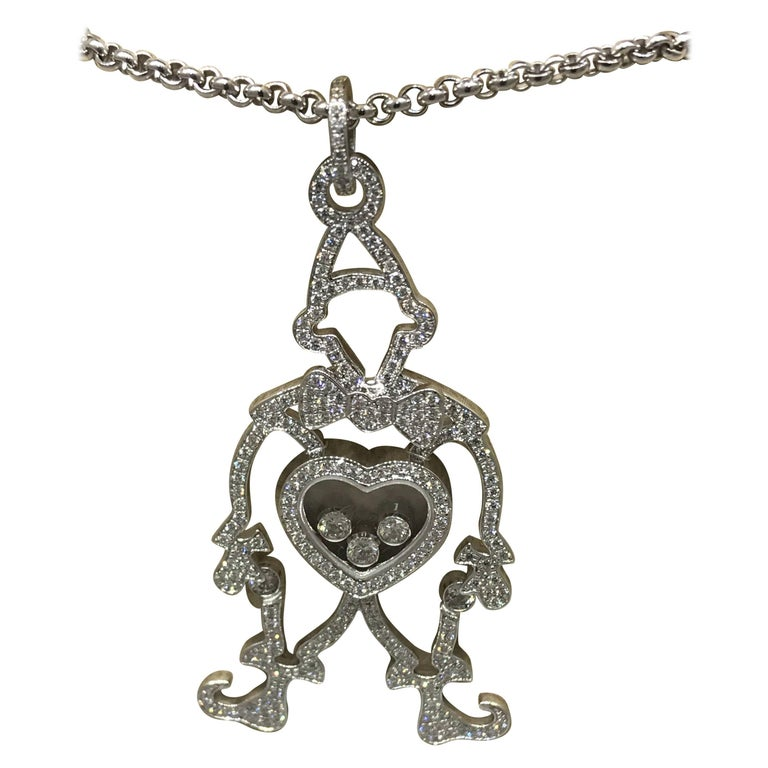 Articulated clown pendant necklace at 1stdibs chopard happy diamonds white gold clown pendant necklace 797225 1003 brand new aloadofball Gallery
