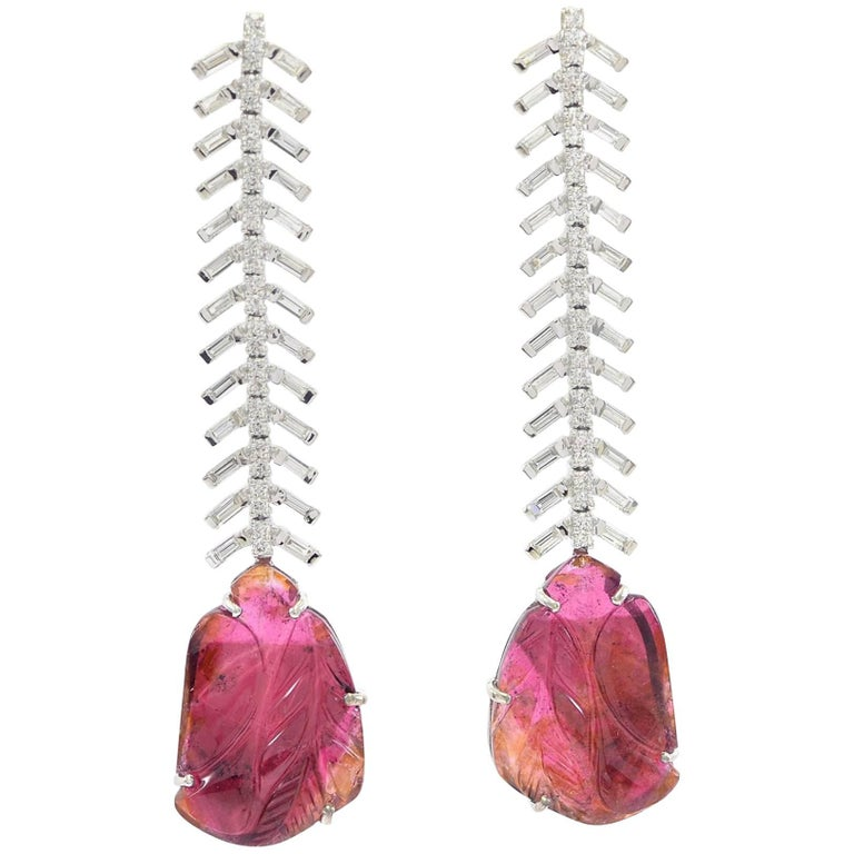 Reve Diamond and Carved Tourmaline Danglers For Sale