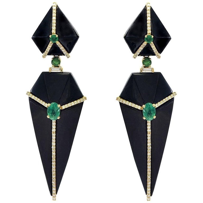 Cubist Onyx Earrings with Emeralds and Diamonds For Sale