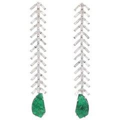 Reve Diamond and Carved Emerald Dangler Earrings