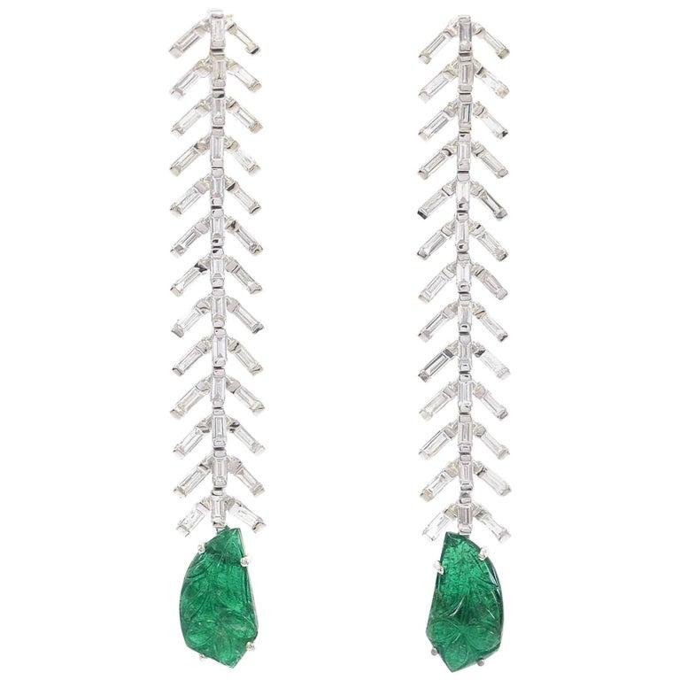Reve Diamond and Carved Emerald Dangler Earrings For Sale