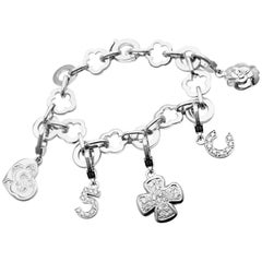 Chanel Camelia Camélia Five Diamond Charm White Gold Link Bracelet