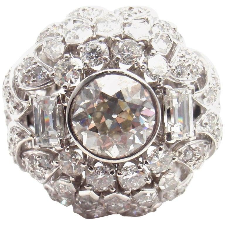 David Webb 5 Carat Diamond Large Platinum Bombe Ring
