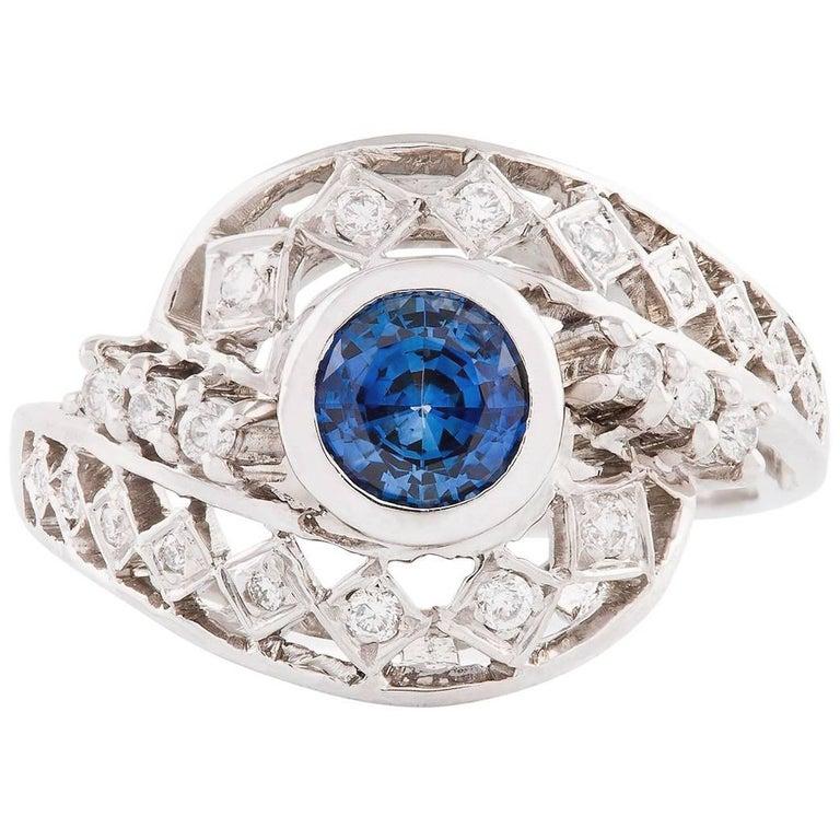 Kian Design  White Gold Ceylon Sapphire and Diamond Ring