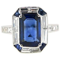 Geometric 3.01 Carat Emerald Cut Australian Sapphire and Diamond Ring
