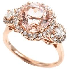 Morganite Diamond 18 Carat Rose Gold Halo Dress Ring