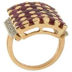 Rubies Gold Diamonds Cocktail Ring