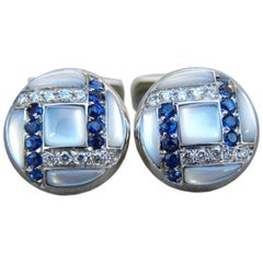 White Diamond Sapphire Hand Inlaid Mother-of-Pearl T-Bar White Gold Cufflinks