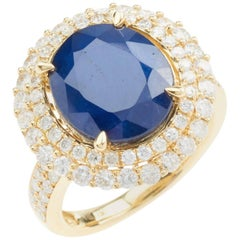 Large 7.90 Carat Sapphire Diamond 18 Carat Yellow Gold Double Halo Dress Ring