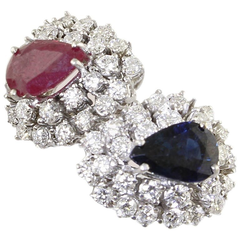 Diamond  Sapphire Ruby White Gold Ring For Sale