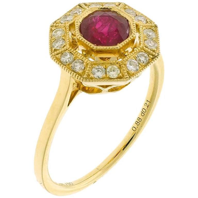 Art Deco Style Ruby Cluster Diamond 18 Carat Yellow Gold Dress Ring